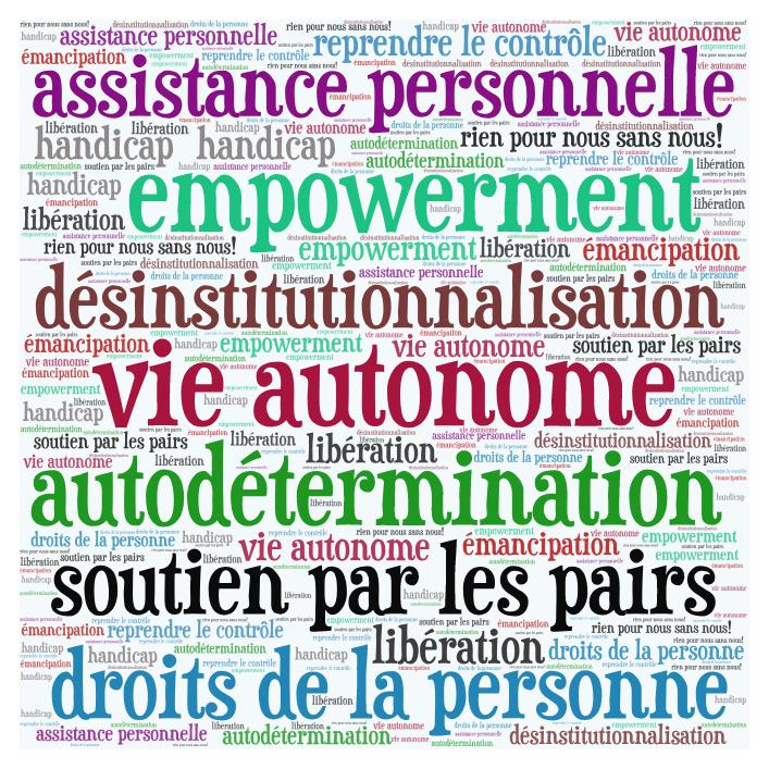 Plusieurs mots-clés sont affichés, par exemple «assistance personnelle», «désinstitutionnalisation», «vie autonome», «soutien par les pairs».